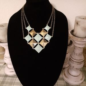 Necklace/blue and gold